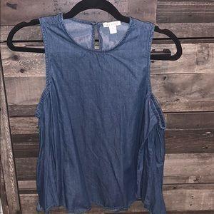 Francesca's Collections Tops - Open shoulder denim blouse